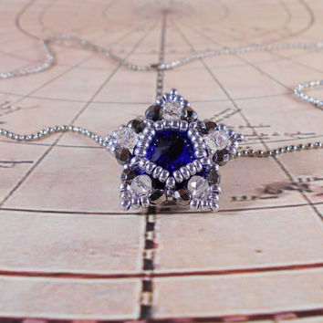 Crystal pendant, Medallion, Snowflake necklace, Beaded pendant, Star pendant, Star necklace, Special occasion jewelry, Fancy necklace