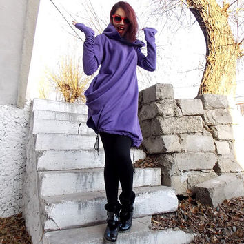 Purple Jumper Dress / Extravagant Plus Size Hoodie / Quilted Cotton Warm Top / XXL Sweatshirt TDK12