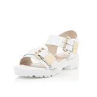 River Island Womens White snake print chunky cleated sandals