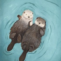 Cute Otter Art print Holding Hands Otterly by WhenGuineaPigsFly