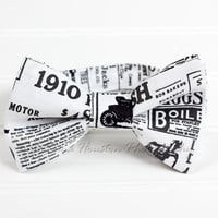 Boy's Bow Tie, Newborn, Baby, Child- Newspaper, Black and White, Toma's Tutus and Things
