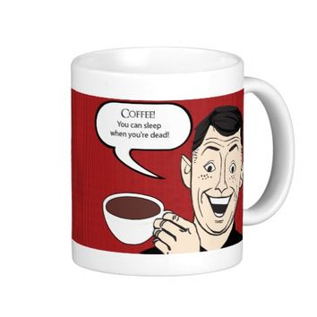 Coffee Funny Retro Design with Laughing Cartoon Ma
