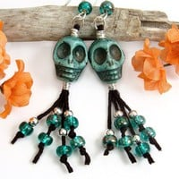 Green Skulls Dangle Earrings, Teal Beads, Halloween, Day of the Dead