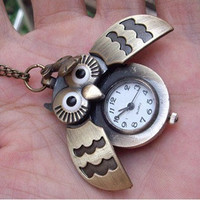 hoot owl pocket Watch locket necklace with a little cute rabbit