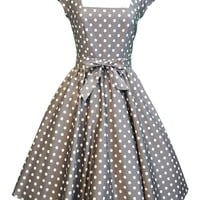 Mocha & White Polka Dot Swing Dress