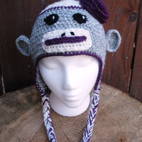 Crochet Sock Monkey Hat with purple rose, youth or teen girls, ready to ship.
