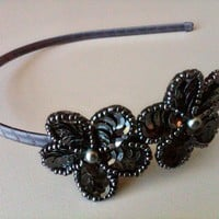 Mini sequin floral applique headband by papersilkmade on Etsy