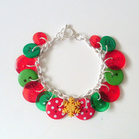 Christmas Charm Bracelet Red and Green Buttons