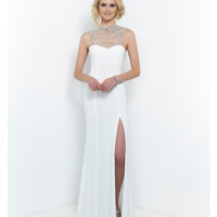 Off White Hollywood Glam Beaded Neck Low Back Gown