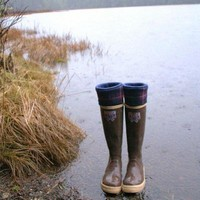 SLUGS Fleece Rain Boot Liners Navy with a Navy &amp; Purple Plaid Cuff, Woodland Rustic Camping Cabin Style (Med/Lg 9-11 Boot)