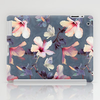 Butterflies and Hibiscus Flowers - a painted pattern iPad Case by Micklyn