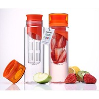 Infuser Water Bottle 28 ounce - Made with TRITAN Copolyester - PLUS Recipe eBOOK INCLUDED - Twist Cap Style Drinking Cup