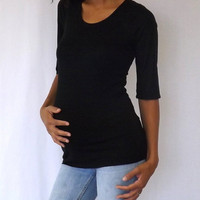 Black scoop neck 3/4 sleeves maternity top, great quality fabric and fitting B