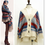 Bohemian Vintage Tribal Oversized Knit Bat Sleeve Sweater Coat Knitwear Cardigan