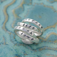 Love, Laugh, Embrace Life Rings, Quad Mother&#x27;s Ring, Four Personalized Sterling Silver Ring Bands, Inspiring Words Double Rings
