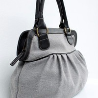 Soft Gray Color Sackcloth Handbag by CrazyBoy on Etsy
