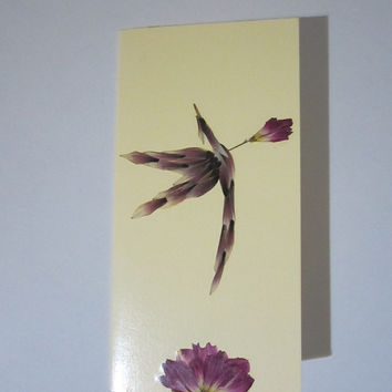 """Handmade unique greeting card """"Amor's arrow"""" - Decorated with dried pressed flowers and herbs - Original art collage."""