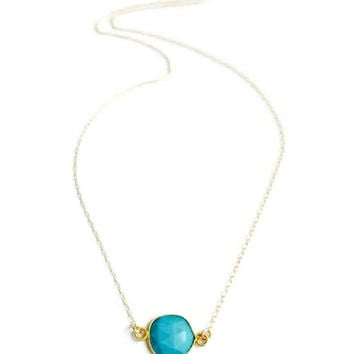 14kt Gold fill Geometric Turquoise Sideways Pendant Necklace. Dainty Stone Necklace. Modern and Minimalist Jewelry. Gift for Her