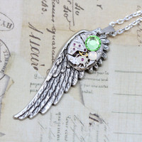 "Steampunk Necklace Wing Steam Punk Jewelry - Silver Wing Peridot Opal Green August Birthstone  - Vintage Watch Movement- 20"" Silver Chain"