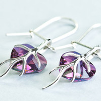 Crystal Heart Autumn Earrings / Swarovski Crystal Small Heart Earrings Amethyst Gift For Teen