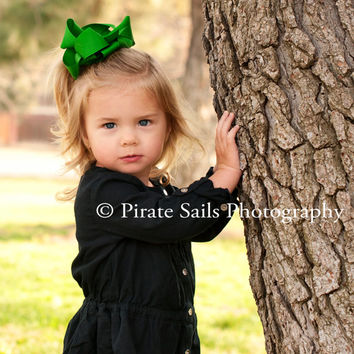 Green Bow Clip, Green Southern Bow, Large Hair Bow, Boutique Bow, St Patricks Day Bow, Big Hair Bow, Green Boutique Bow, Handmade Bow