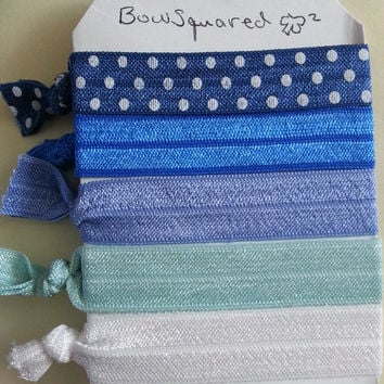 Pack of 5 - Blue Ombre Themed Elastic Hair Ties
