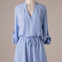 Cambria 3/4 Sleeve Dress - Periwinkle Blue