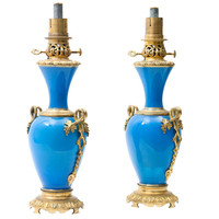 Pair French Louis Phillipe Blue Opaline &amp; Ormolu Oil Lamps at 1stdibs