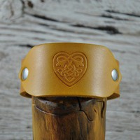 Celtic Heart Leather Wrist Band SALE