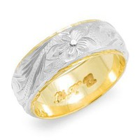 Hawaiian Floral 8mm Ring in 14K Two-Tone Gold