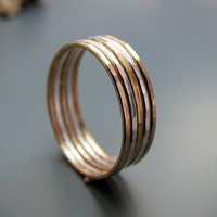 Twotone hammered stacking rings gold filled and by junedesigns