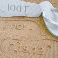 I DO Custom Sand Imprint Flip Flops by by Glamfoxx