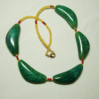 Green Crackle New Jade Necklace Gold Filled