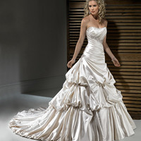 2011 Maggie Sottero Bridal - Pearl Satin Ruched Gathered Strapless Montana Wedding Gown - 0 - 28 - Unique Vintage - Bridesmaid & Wedding Dresses