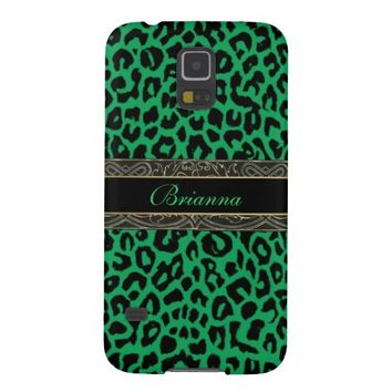 Celtic Green Leopard Personalized Galaxy Case
