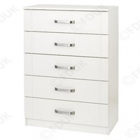 One Call Furniture - One Call Flute Textured Ivory 5 Drawer Chest