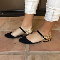 Black & Gold Mila Point Toe Flats