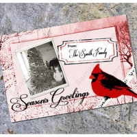 Photo Christmas Card Winter Red Cardinal Season's Greetings Printable 4x6 5x7