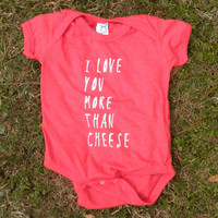 I Love You More Than Cheese Vintage Red Onesuit