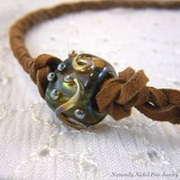 Lampwork Glass Braided Leather Necklace, 21 inch