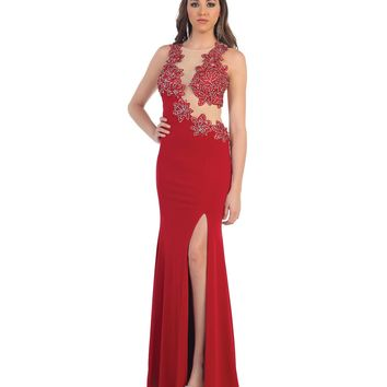 Red Floral High Slit Fitted Dress 2015 Prom Dresses