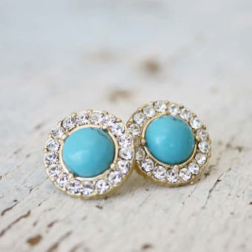 Turquoise Moon Stud Earrings, Sweet Affordable Jewelry