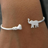 Unique Jewelry Sterling Silver Elephant Bracelet Bangle