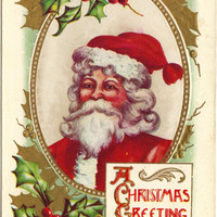 Antique Postcard - Christmas Greetings - Red Santa - Green & Gold Gilt Holly