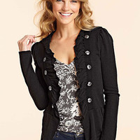 Military Ruffle Cardi at Alloy