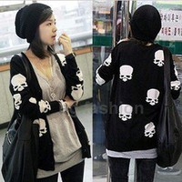 Women&#x27;s Lovely Skull Knitwear Long Sweaters Cardigans Buttons Top S-M 2 COLORS