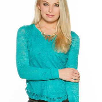 Eyeshadow Lace Front Sweater