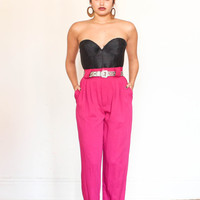 high waisted tapered leg fuchsia hot pink pants xs-s