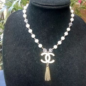 Lovely Designer Inspired Dainty Pearl Crystal CC Pendant Necklace
