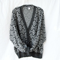 Grey diamond patterned grandpa sweater warm V neck cardigan button down Mr. Rogers long sleeved / Made in Italy / wool acrylic blend sweater